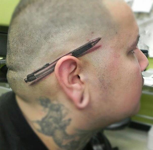 3D pen behind ear tattoo