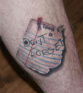 3D pinned reminder on foot tattoo