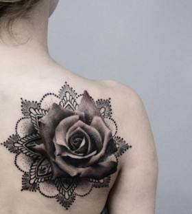 3D rose shoulder tattoo