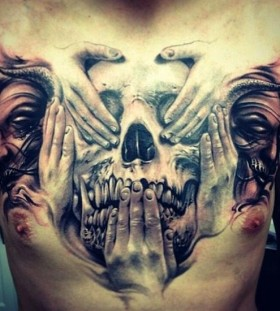 3D speak, hear and talk to evel on chest tattoo