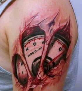 3D speedometer on arm tattoo