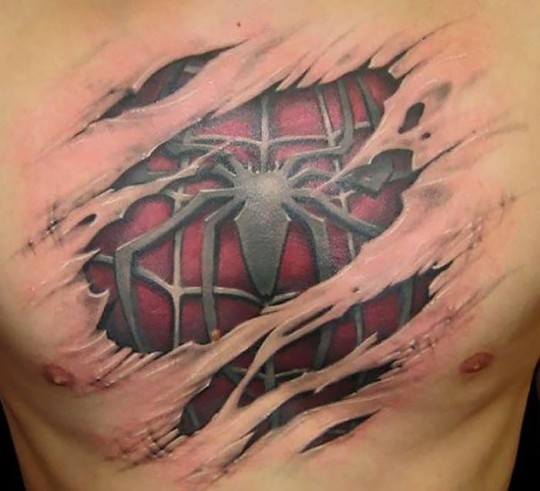 3D spiderman on chest tattoo