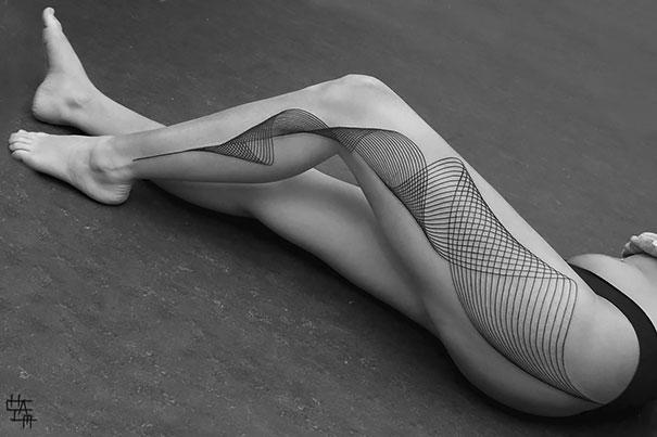 3D swils on full leg tattoo