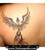 Beautiful Fire Phoenix Tattoo Design