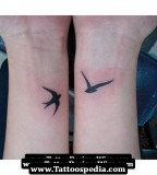 Swallow Bird Couple Tattoo on Wrist