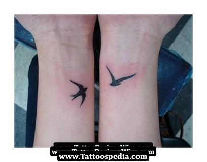 Swallow Bird Couple Tattoo on Wrist