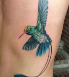 Cool 3D Flying Hummingbird Tattoo Design