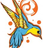 Blue and Yellow Swallow Tattoo Design