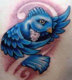 Beautiful 3D Blue Bird Tattoo Design