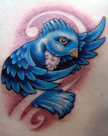 Beautiful 3D Blue Bird Tattoo Design