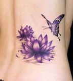 Lotus and Butterfly Hip Tatto for Women [NSFW]