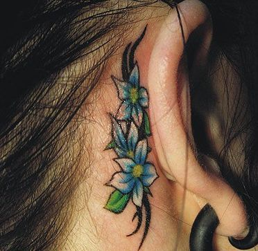 Flower Ear Tattoo Design