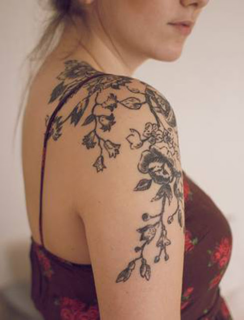 Floral Shoulder Tattoo for Women