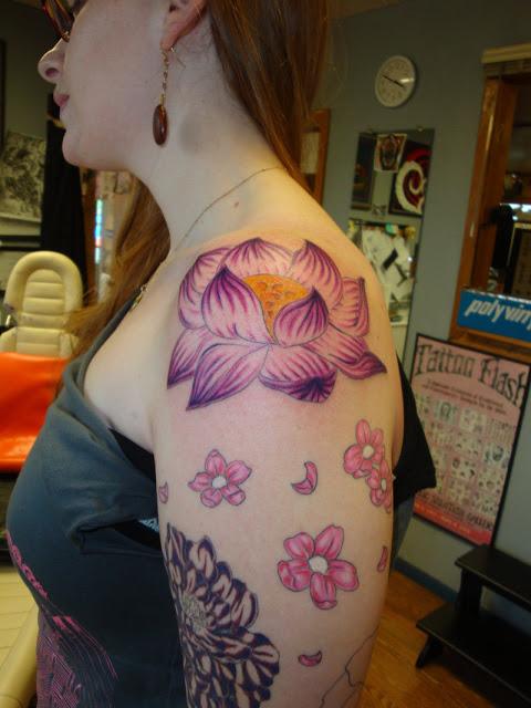 Half Sleeve Lotus Flower Tattoo for Women