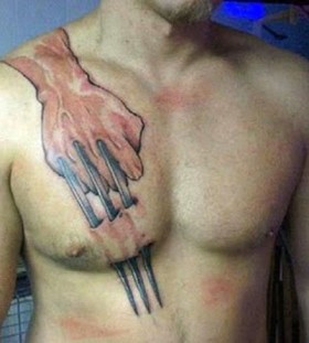 3d wolverine's fist chest tattoo