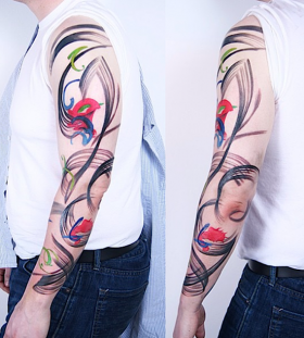Abstarct full arm tattoo
