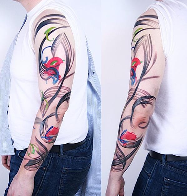 Abstarct full arm tattoo