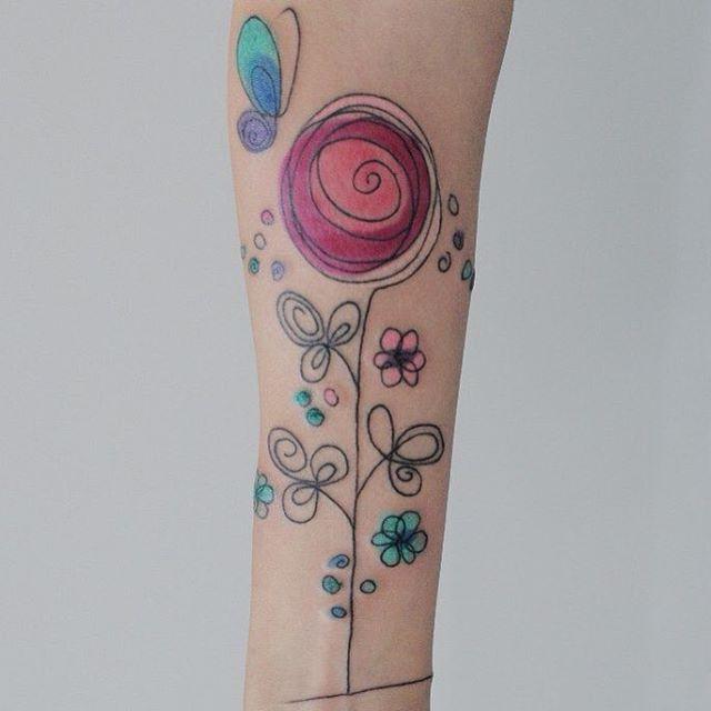 Watercolor Flower Tattoos