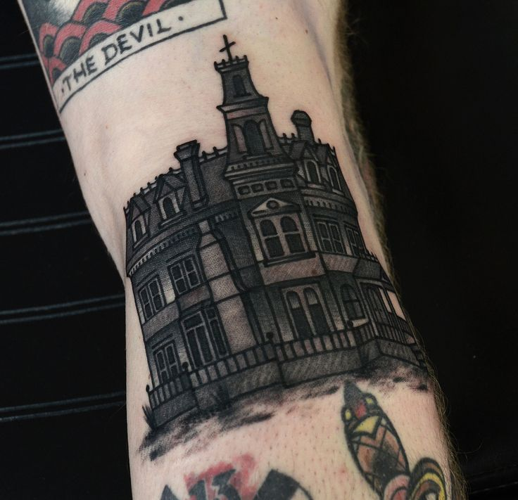 Adams family mansion tattoo by Philip Yarnell