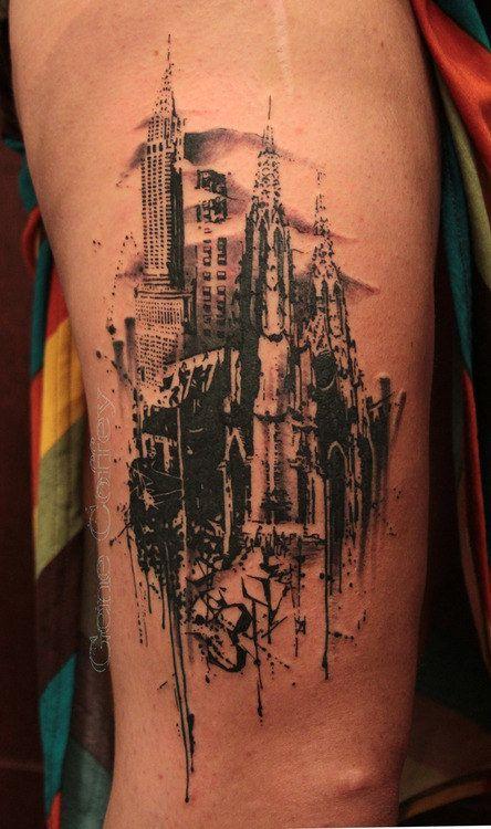 Adorable black town tattoo