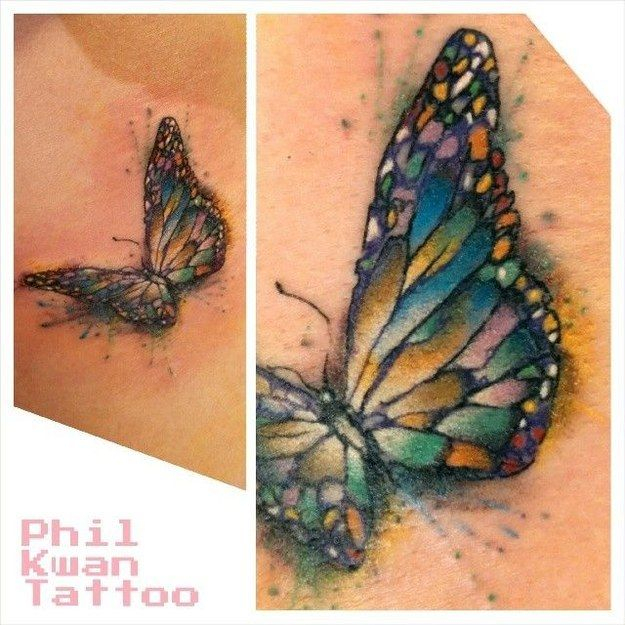 Adorable small watercolor butterfly tattoo