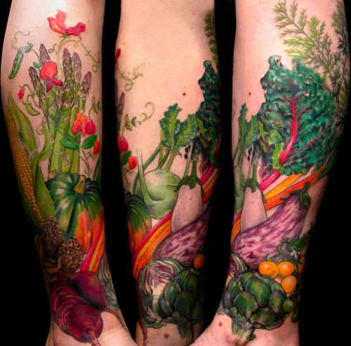 Adorable vegetable's fruit tattoo