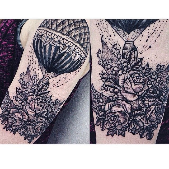 Air balloon and flowers tattoo