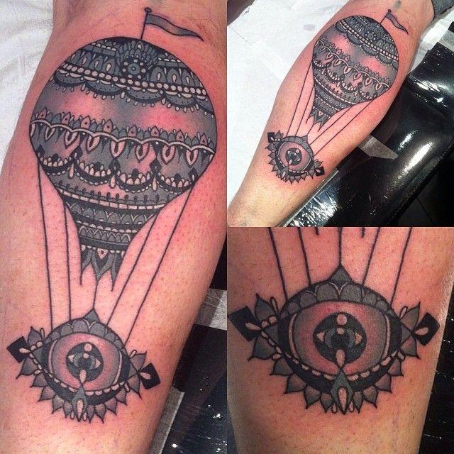 Air balloon tattoo by Flo Nuttall