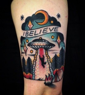 Alien abduction tattoo by Matt Cooley