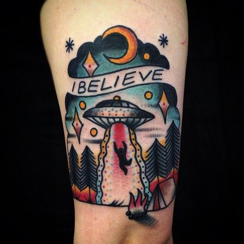 Alien abduction tattoo by Matt Cooley