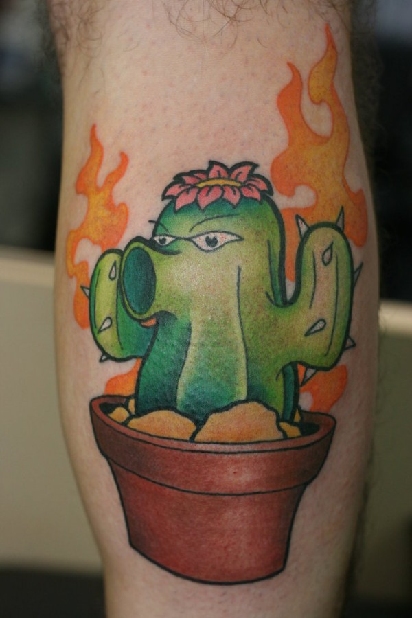 Alive cactus leg tattoo