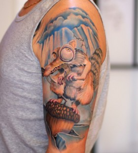 Amazing Scrat arm tattoo