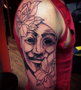 Amazing V for vendetta arm tattoo