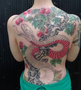 Amazing apple tree and snake tattoo