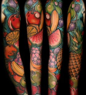 Amazing arm's fruit tattoo