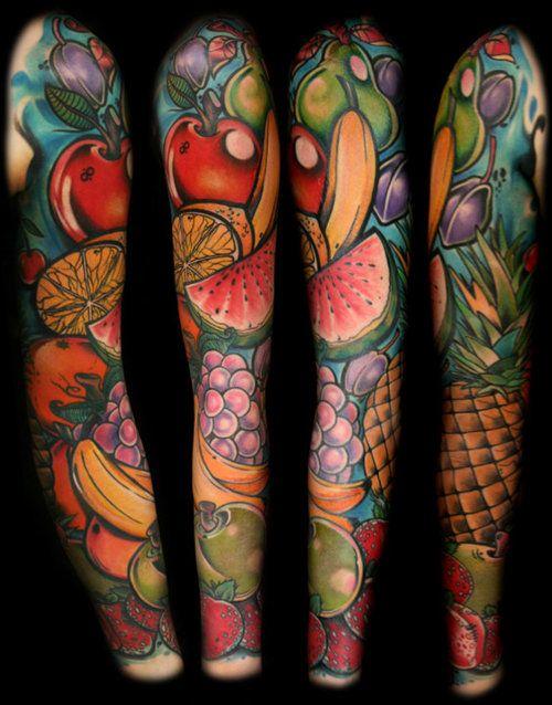 Amazing arm's fruit tattoo