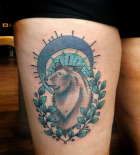 Amazing bear tattoo by Kirsten Holliday