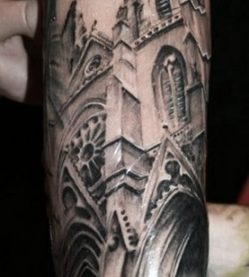Amazing black architecture tattoo