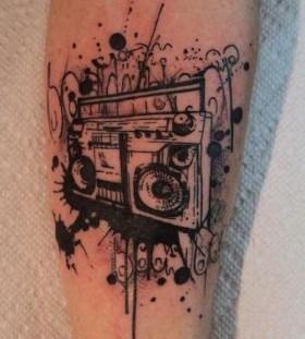 Amazing boombox tattoo