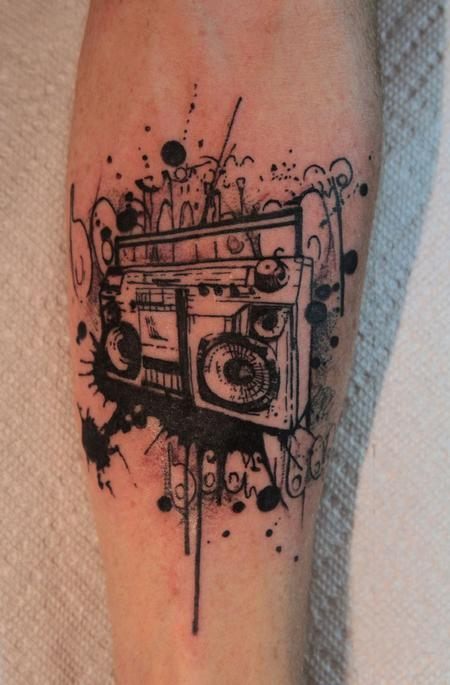 Amazing boombox tattoo