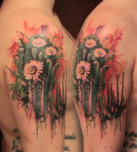 Amazing cactus arm tattoo