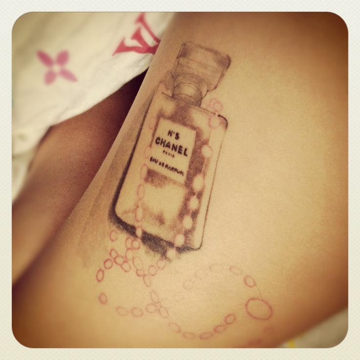 Amazing chanel perfume bottle tattoo