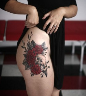 Amazing dahlia and crow skull tattoo