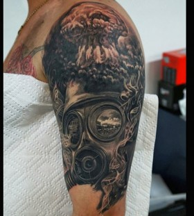 Amazing explosion and gas mask tattoo