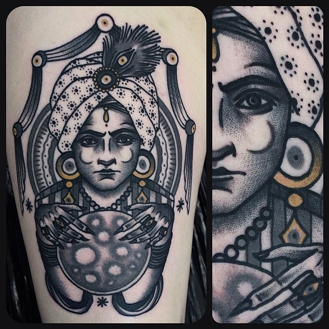 Amazing fortune-teller tattoo by Philip Yarnell