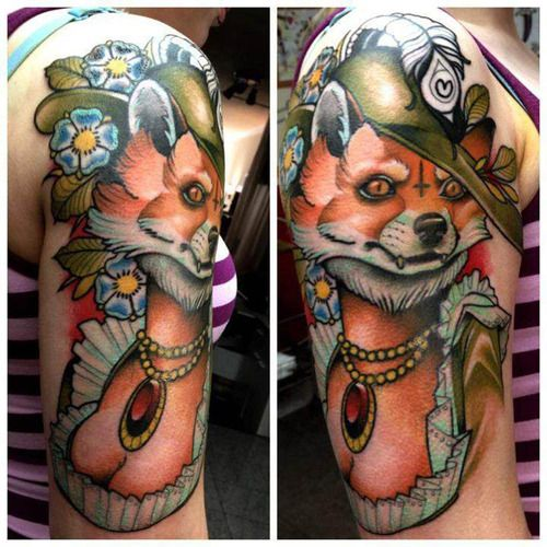 Amazing fox tattoo by Alex Dorfler