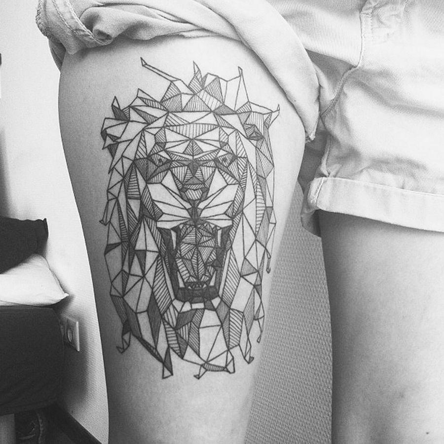 Amazing geometric lion tattoo
