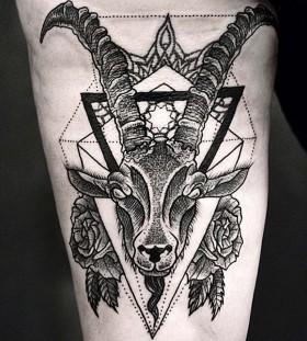 Amazing goat leg tattoo