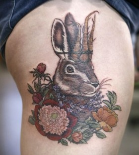 Amazing king bunny tattoo by Alice Kendall