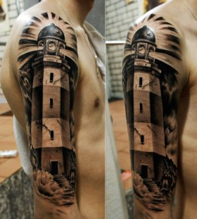 Amazing lighthouse arm tattoo